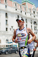 Triathlete Frederik Van Lierde runs past the Negresco Hotel during Ironman France 2012, Nice, France, 24 June 2012. Frederik came in first place and broke the course record, finishing in 8:21:50.