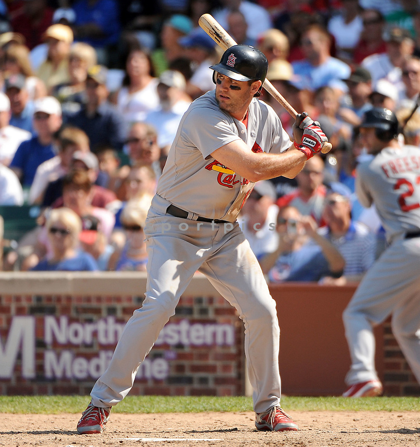 LANCE BERKMAN, of the St. Louis Cardinals, in action during the Cardinals game against the Chicago Cubs on August 19, 20011, at Wrigley Field in Chicago, Illinois. The Cubs beat the Cardinals 5-4