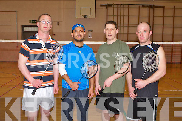 SEMI-FINALS: Playing in the men's doubles division 5 semi-finals of the Paddy Sugrue badminton tournament at the Presentation gym, Tralee on Sunday l-r: Michael Nolan, Al Amin, Dan Browne and Jamie McElliott.