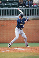 James Meeker III (37) of the Akron Zips at bat against the Charlotte 49ers at Hayes Stadium on February 22, 2015 in Charlotte, North Carolina.  The Zips defeated the 49ers 5-4.  (Brian Westerholt/Four Seam Images)