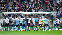 Newcastle's Jonjo Shelvey hit the post from free kick during the EPL - Premier League match between Tottenham Hotspur and Newcastle United at Wembley Stadium, London, England on 9 May 2018. Photo by Andrew Aleksiejczuk / PRiME Media Images.
