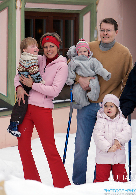 Prince Constantijn, Princess Laurentien and Eloise, Claus-Casimir & Leonore pose for photographs at the start of their annual skiing holiday in Lech, Austria..