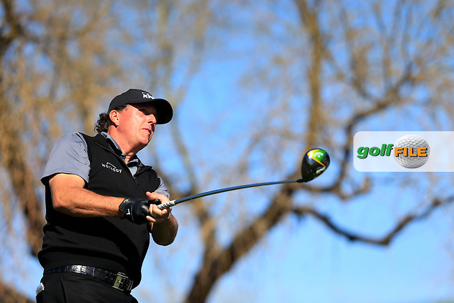 Phil Mickelson (USA) on the 6th tee during the 2nd round of the Waste Management Phoenix Open, TPC Scottsdale, Scottsdale, Arisona, USA. 01/02/2019.<br /> Picture Fran Caffrey / Golffile.ie<br /> <br /> All photo usage must carry mandatory copyright credit (&copy; Golffile | Fran Caffrey)