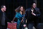 "Michael Mayer, Keri Russell and Adam Driver during the Broadway Opening Night Curtain Call for Landford Wilson's ""Burn This""  at Hudson Theatre on April 15, 2019 in New York City."
