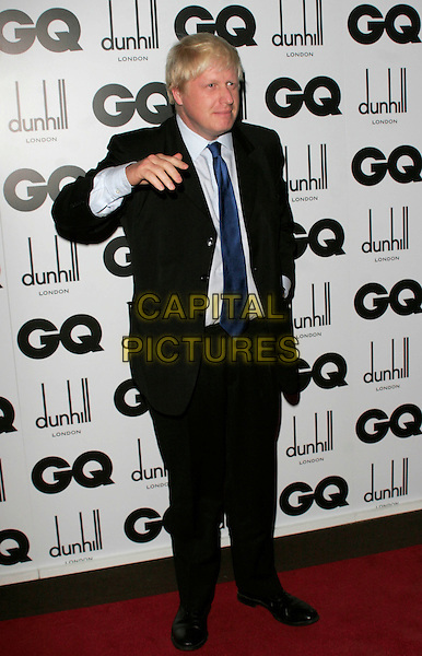 BORIS JOHNSON - MAYOR OF LONDON.Inside Arrivals at the GQ Men of the Year Awards at the Royal Opera House, Covent Garden, London, England,.2nd September 2008..full length blue tie MP black suit hand.CAP/AH.©Adam Houghton/Capital Pictures