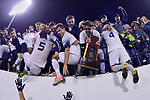 GREENSBORO, NC - DECEMBER 02: Messiah College celebrates with fans after winning the Division III Men's Soccer Championship held at UNC Greensboro Soccer Stadium on December 2, 2017 in Greensboro, North Carolina. Messiah College defeated North Park University 2-1 to win the national title. (Photo by Grant Halverson/NCAA Photos via Getty Images)
