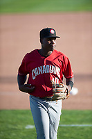 Vancouver Canadians shortstop Jesus Severino (10) jogs off the field between innings of a Northwest League game against the Spokane Indians at Avista Stadium on September 2, 2018 in Spokane, Washington. The Spokane Indians defeated the Vancouver Canadians by a score of 3-1. (Zachary Lucy/Four Seam Images)
