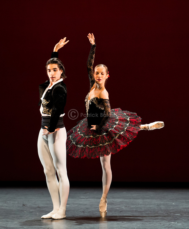 English National Ballet. Emerging Dancer Competition. Cesar Corrales and Katja Khaniukova performing out of competition. Don Quixote pas de deux <br /> Choreography: Marius Petipa<br /> Music: Ludwig Minkus