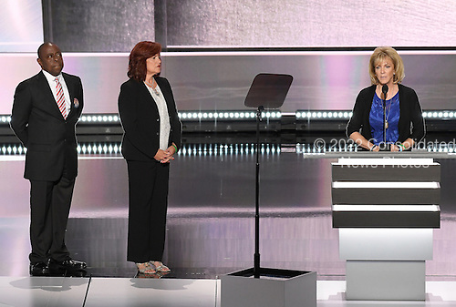 Mary Ann Mendoza, Sabine Durden, and Jamiel Shaw, Victims of Illegal Immigrants speak at the 2016 Republican National Convention held at the Quicken Loans Arena in Cleveland, Ohio on Monday, July 18, 2016.<br /> Credit: Ron Sachs / CNP<br /> (RESTRICTION: NO New York or New Jersey Newspapers or newspapers within a 75 mile radius of New York City)