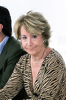 Esperanza Aguirre during the appearance of Mariano Rajoy at the PP main office to talk about the B?°rcenas case