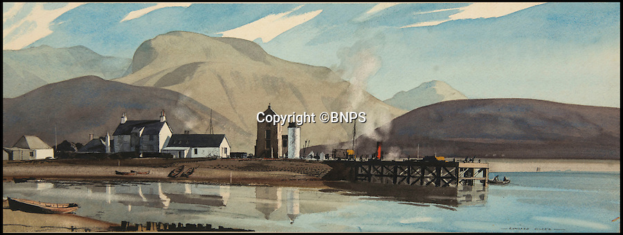 BNPS.co.uk (01202 558833)<br /> Pic: TomWren/BNPS<br /> <br /> Ben Nevis, Inverness-shire by Rowland Hilder.<br /> <br /> A collection of vintage posters used to promote Britain's railways during the golden age of steam have gone on sale for a whopping &pound;20,000 after being saved from the skip.<br /> <br /> Quick-thinking railway worker Albert Cook heard the 130 carriage panel prints from the 1930s including 12 original artworks were to be thrown away at London's Liverpool Street Station, so he asked permission to take them home.<br /> <br /> The art deco-style posters advertised popular destinations such as Northumberland's Whitley Bay, Woodhall Spa in Lincs and Dovercourt Bay in Essex as railway tourism opened up Britain to the masses.<br /> <br /> The archive will be sold by Onslows auctioneers in Blandford, Dorset, on July 14.