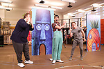 Danny Skinner, Gavin Lee and Ethan Slater during the Rehearsal Press Preview of the New Broadway  Musical on 'SpongeBob SquarePants'  on October 11, 2017 at the Duke 42nd Street Studios in New York City.