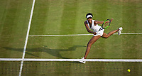 Venus Williams (10) of United States in action during her victory over Naomi Osaka of Japan in their Ladies' Singles Third Round Match today<br /> <br /> Photographer Ashley Western/CameraSport<br /> <br /> Wimbledon Lawn Tennis Championships - Day 5 - friday 7th July 2017 -  All England Lawn Tennis and Croquet Club - Wimbledon - London - England<br /> <br /> World Copyright &not;&copy; 2017 CameraSport. All rights reserved. 43 Linden Ave. Countesthorpe. Leicester. England. LE8 5PG - Tel: +44 (0) 116 277 4147 - admin@camerasport.com - www.camerasport.com