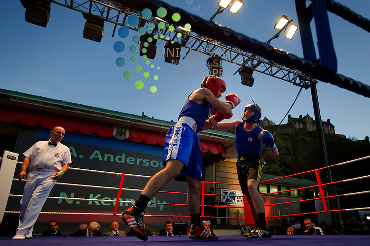A sporting first at the Ross Bandstand in Princes Street Gardens as amateur boxers from Edinburgh take on London boxers in a floodlit, 20 Bout, boxing event, Edinburgh, Scotland, 9th September, 2011. Pictured A Anderson (Edinburgh) v N Kennedy (London).Picture:Scott Taylor Universal News And Sport (Europe) .All pictures must be credited to www.universalnewsandsport.com. (Office)0844 884 51 22.