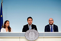 Alessandra Locatelli Minister of Family, Giuseppe Conte and Minister of foreign affairs Lorenzo Fontana <br /> Rome July 11th 2019. The Italian Premier presents to the press the newly appointed Ministers<br /> Foto Samantha Zucchi Insidefoto