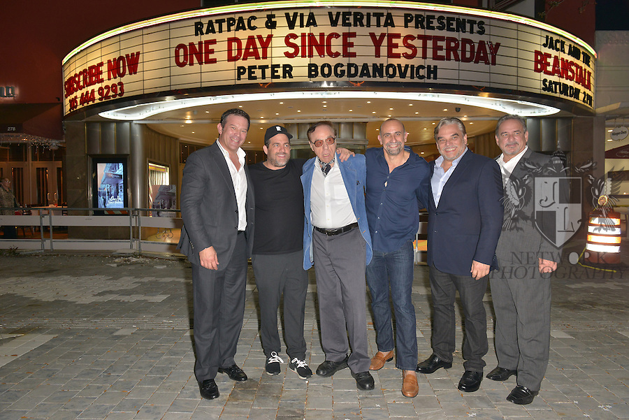 CORAL GABLES, FL - FEBRUARY 28: Victor Barroso, Producer / Director Brett Ratner, actor / director Peter Bogdanovich, Director Bill Teck, Fernando Zulueta and Ignacio Zulueta attend the Miami Premiere of RatPac Documentary Films One Day Since Yesterday: Peter Bogdanovich and the Lost American Film' followed by Q&A at Miracle Theater inside the Actors Playhouse on February 28, 2017 in Coral Gables, Florida. ( Photo by Johnny Louis / jlnphotography.com )