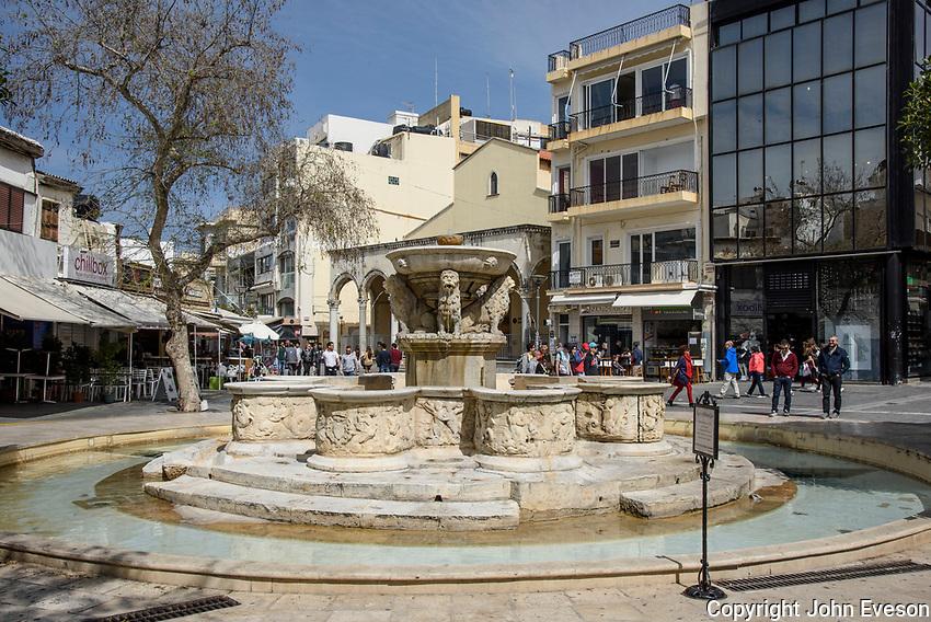 The Morozini Fountain, Heraklion,island of Crete, Greece.