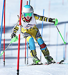 LEAD, SD - JANUARY 31, 2016 -- Macy Lundstrom works through the slalom in the U14 category during the 2016 USSA Northern Division Ski Races at Terry Peak Ski Area near Lead, S.D. Sunday. (Photo by Richard Carlson/dakotapress.org)
