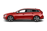 Car Driver side profile view of a 2014 Volvo V60 Summum R-design 5 Door Wagon 2WD Side View