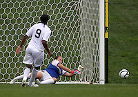 BOYDS, MARYLAND - July 21, 2012:  Robyn Jones (39) of Charlotte Lady Eagles stops a penalty shot by Ashley Peter (9) of the Long Island Roughriders during a W League Eastern Conference Championship semi final match at Maryland Soccerplex, in Boyds, Maryland on July 21.