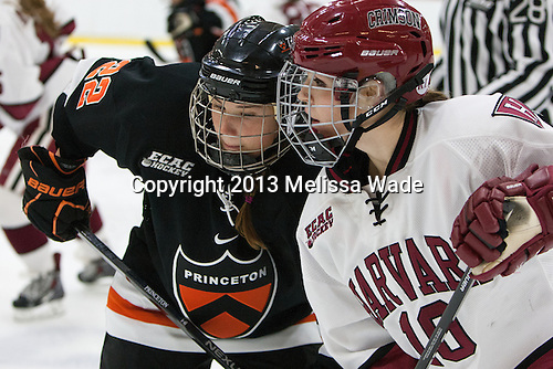 Olivia Mucha (Princeton - 22), Gina McDonald (Harvard - 10) - The Harvard University Crimson defeated the visiting Princeton University Tigers 4-0 on Saturday, October 26, 2013, at Bright-Landry Hockey Center in Cambridge, Massachusetts.
