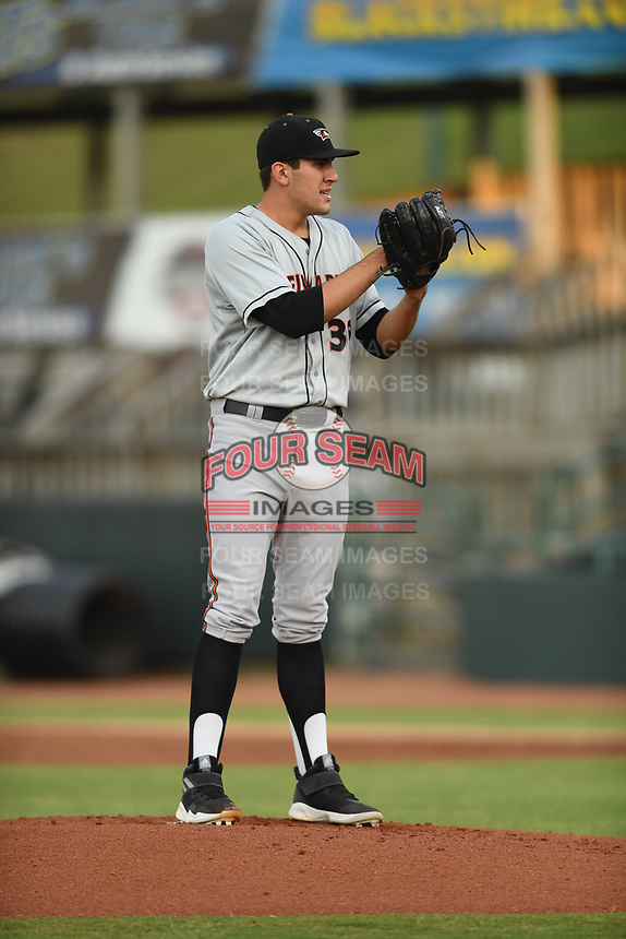 Delmarva Shorebirds starting pitcher Grayson Rodriguez (36) in action during game one of the Northern Division, South Atlantic League Playoffs against the Hickory Crawdads at L.P. Frans Stadium on September 4, 2019 in Hickory, North Carolina. The Crawdads defeated the Shorebirds 4-3 to take a 1-0 lead in the series. (Tracy Proffitt/Four Seam Images)