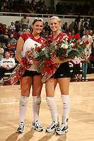 18 November 2005: Katie Goldhahn and Courtney Schultz during Stanford's 3-2 win over California in the Big Spike at Maples Pavilion in Stanford, CA.
