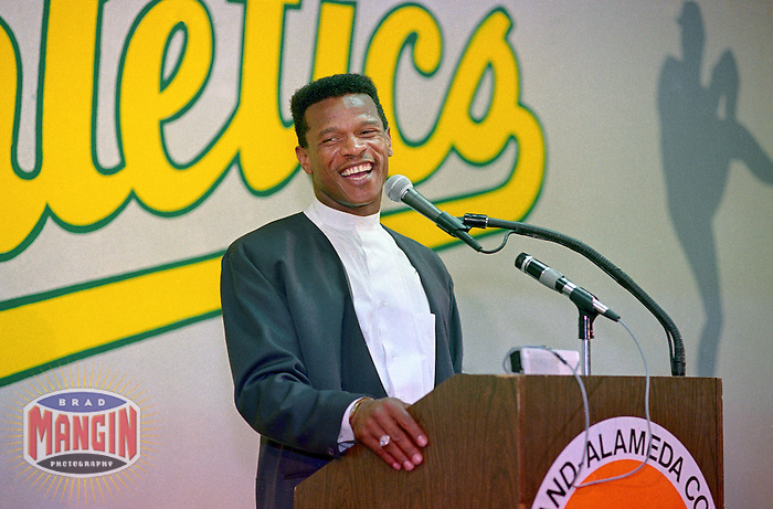 OAKLAND, CA - Rickey Henderson of the Oakland Athletics talks to the media at a press conference after he was awarded the 1990 American League Most Valuable Player Award at the Oakland Coliseum in Oakland, California in 1990. Photo by Brad Mangin