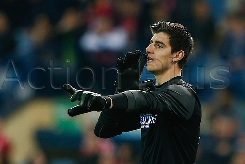 15.03.2014. Madrid, Spain. La Liga football. Atletico Madrid versus Espanyol at Vicente Calderon stadium.  Thibaut Courtois (Belgian goalkeeper of At. Madrid)