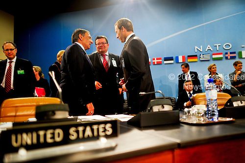 United States Secretary of Defense Leon Panetta meets with counterparts at the NATO Defense Ministerial in Brussels, Belgium, October 5, 2011.  Panetta is meeting with NATO counterparts and defense leaders to discuss lessons learned during NATO operations in Libya and Afghanistan and the future defense needs of the alliance. .Mandatory Credit: Jacob N. Bailey / USAF via CNP