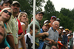 7 September 2008:    Fans crane their necks to watch the ball after Camilo Villegas teed off on the seventh hole in the fourth and final round of play at the BMW Golf Championship at Bellerive Country Club in Town & Country, Missouri, a suburb of St. Louis, Missouri on Sunday September 7, 2008. The BMW Championship is the third event of the PGA's  Fed Ex Cup Tour.