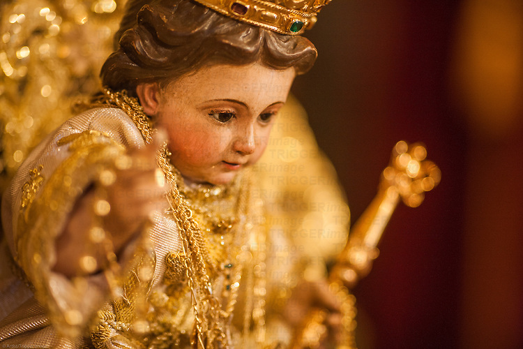 Close-up image of Baby Jesus, an anonymous carving from the 18th century, San Martin church, Carrion de los Cespedes, Seville, Spain