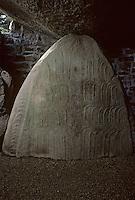 Europe/France/Bretagne/56/Morbihan/Golfe du Morbihan/Locmariaquer: Table des marchands sculptés