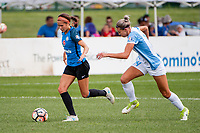 Kansas City, MO - Wednesday August 16, 2017: Shea Groom, Alanna Kennedy during a regular season National Women's Soccer League (NWSL) match between FC Kansas City and the Orlando Pride at Children's Mercy Victory Field.