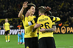 01.12.2018, Signal Iduna Park, Dortmund, GER, DFL, BL, Borussia Dortmund vs SC Freiburg, DFL regulations prohibit any use of photographs as image sequences and/or quasi-video<br /> <br /> im Bild Lukasz Piszczek (#26, Borussia Dortmund) jubelt mit Torschuetze zum 2:0 Paco Alcacer (#9, Borussia Dortmund) und Axel Witsel (#28, Borussia Dortmund) <br /> <br /> Foto © nordphoto/Mauelshagen