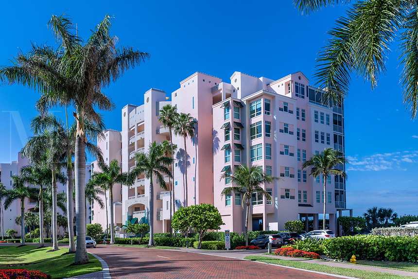 Resort condominium building on Barefoot Beach Road, Bonita Springs, Florida, USA.