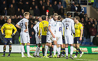 Mark Beevers of Millwall turns for his long walk as Referee Scott Duncan sends him off with a red card during the Johnstone's Paint Trophy Southern Final 2nd Leg match between Oxford United and Millwall at the Kassam Stadium, Oxford, England on 2 February 2016. Photo by Andy Rowland / PRiME Media Images.