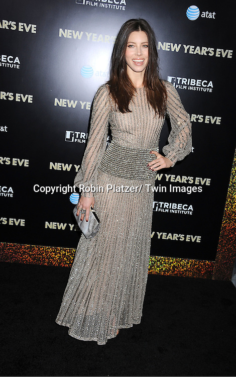 """Jessica Biel in Valentino dress attends The Special Screening of """" New Year's Eve"""" on ..December 7, 2011 at The Ziegfeld Theatre in New York City. The evening is sponsored by AT & T and is benefitting The Tribeca Film Institute ."""