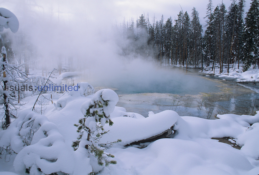 Emerald Pool in the winter. Yellowstone National Park, Wyoming