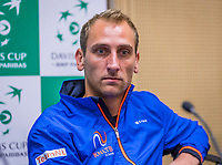 The Hague, The Netherlands, September 12, 2017,  Sportcampus , Davis Cup Netherlands - Chech Republic, Pre Draw press conference, Thiemo de Bakker (NED) (NED)<br /> Photo: Tennisimages/Henk Koster