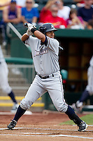 Christian Colon (4) of the Northwest Arkansas Naturals at bat during a game against the Springfield Cardinals and the Springfield Cardinals at Hammons Field on July 30, 2011 in Springfield, Missouri. Springfield defeated Northwest Arkansas 11-5. (David Welker / Four Seam Images)