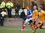 Dean Shiels sees his shot fall into the hands of the Annan keeper