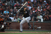 SAN FRANCISCO, CA - AUGUST 11:  Jordy Mercer #10 of the Pittsburgh Pirates bats against the San Francisco Giants during the game at AT&T Park on Saturday, August 11, 2018 in San Francisco, California. (Photo by Brad Mangin)
