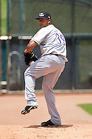 Starting pitcher Edison Volquez #39 of the Louisville Bats warms up in the bullpen prior to the game against the Charlotte Knights at Knights Stadium on July 17, 2011 in Fort Mill, South Carolina.  The Knights defeated the Bats 7-6.   (Brian Westerholt / Four Seam Images)
