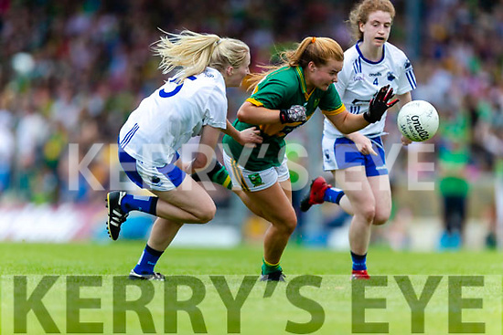 Andrea Murphy of Kerry in action against Waterford defender Mairead Wall during the TG4 Munster Senior Ladies Football Championship semi-final match between Kerry and Waterford at Fitzgerald Stadium in Killarney on Sunday.