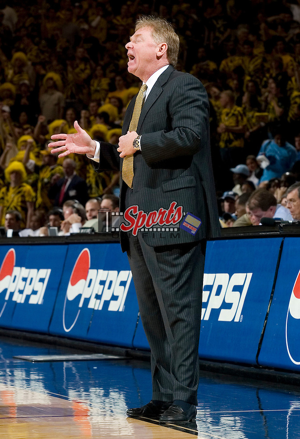 Wake Forest head coach Skip Prosser calls out instructions to his team during second half action versus North Carolina at the LJVM Coliseum in Winston-Salem, NC, Wednesday, January 24, 2007.  The Tar Heels defeated the Demon Deacons 88-60.