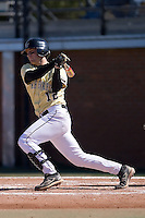 Shortstop Andy Goff (12) of the Wake Forest Demon Deacons follows through on his swing versus the Clemson Tigers during the second game of a double header at Gene Hooks Stadium in Winston-Salem, NC, Sunday, March 9, 2008.