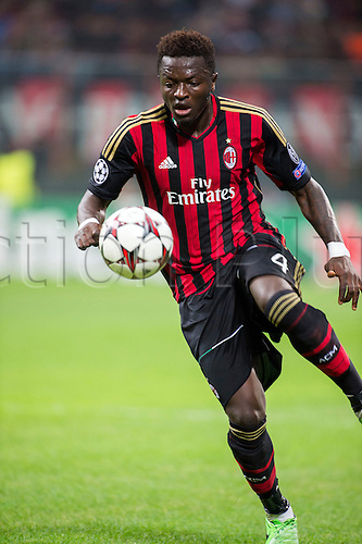 22.10.l2013. Milan, Italy. UEFA Champions League football. AC Milan versus FC Barcelona. Group stages. Sulley Muntari (Milan),  at Stadio Giuseppe Meazza in Milan, Italy.