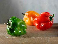 3 bell  chilli peppers - red, green & red