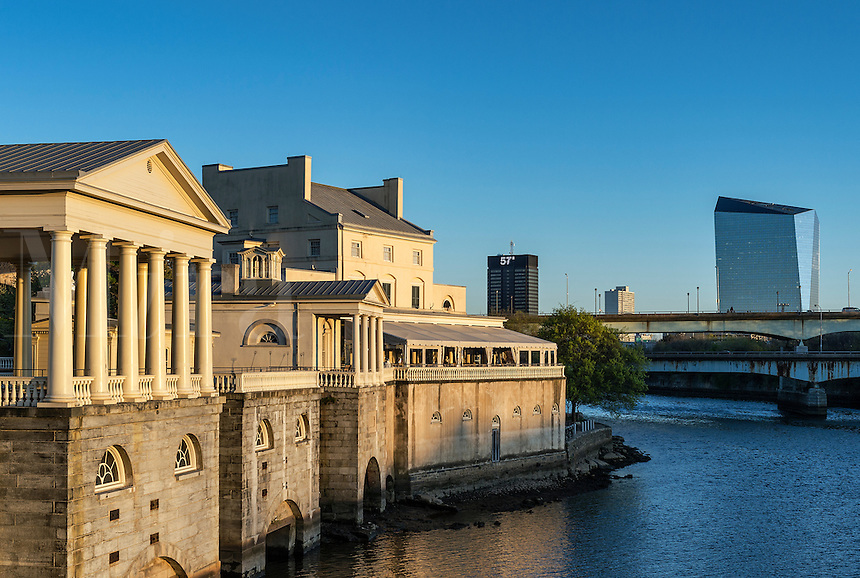 The Fairmount Water Works and Schuylkill River, Philadelphia, Pennsylvania, USA